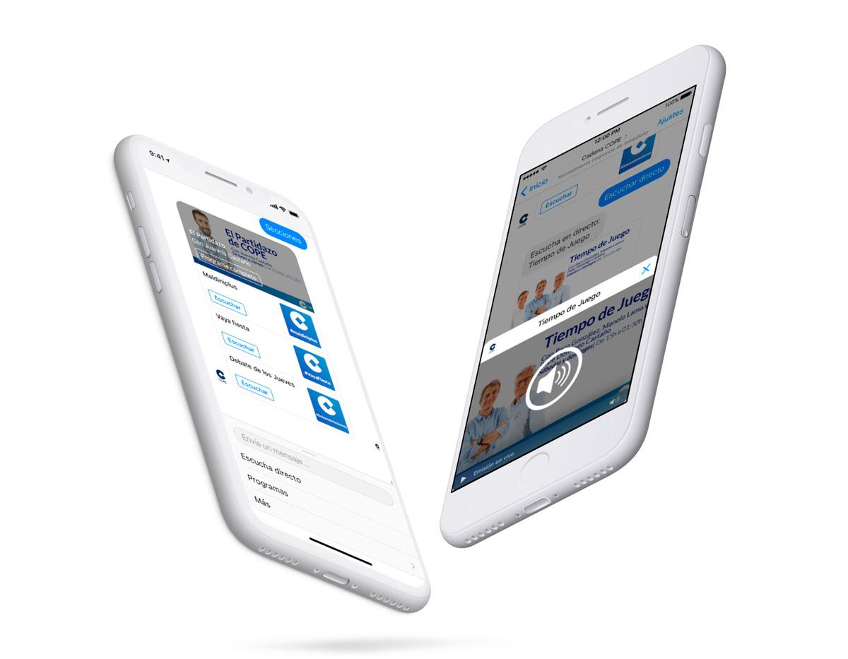 Dos iPhone con las pantallas de deportes del Chatbot de COPE