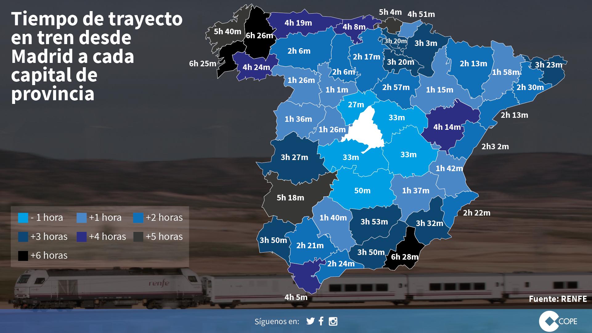 Diseño de tarjetas. Mapa que muestra las distancias en tren desde Madrid a cada capital de provincia