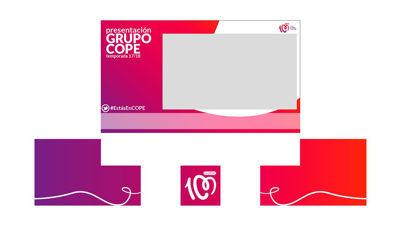 Diseño de tarjetas. Pantalla CADENA 100 diseño