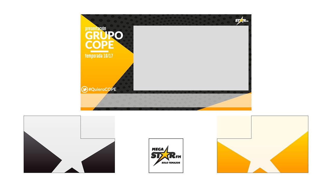 Diseño de tarjetas. Pantalla MegastarFM diseño