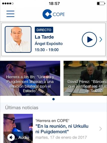 Diseño app de COPE antes del rediseño 2018