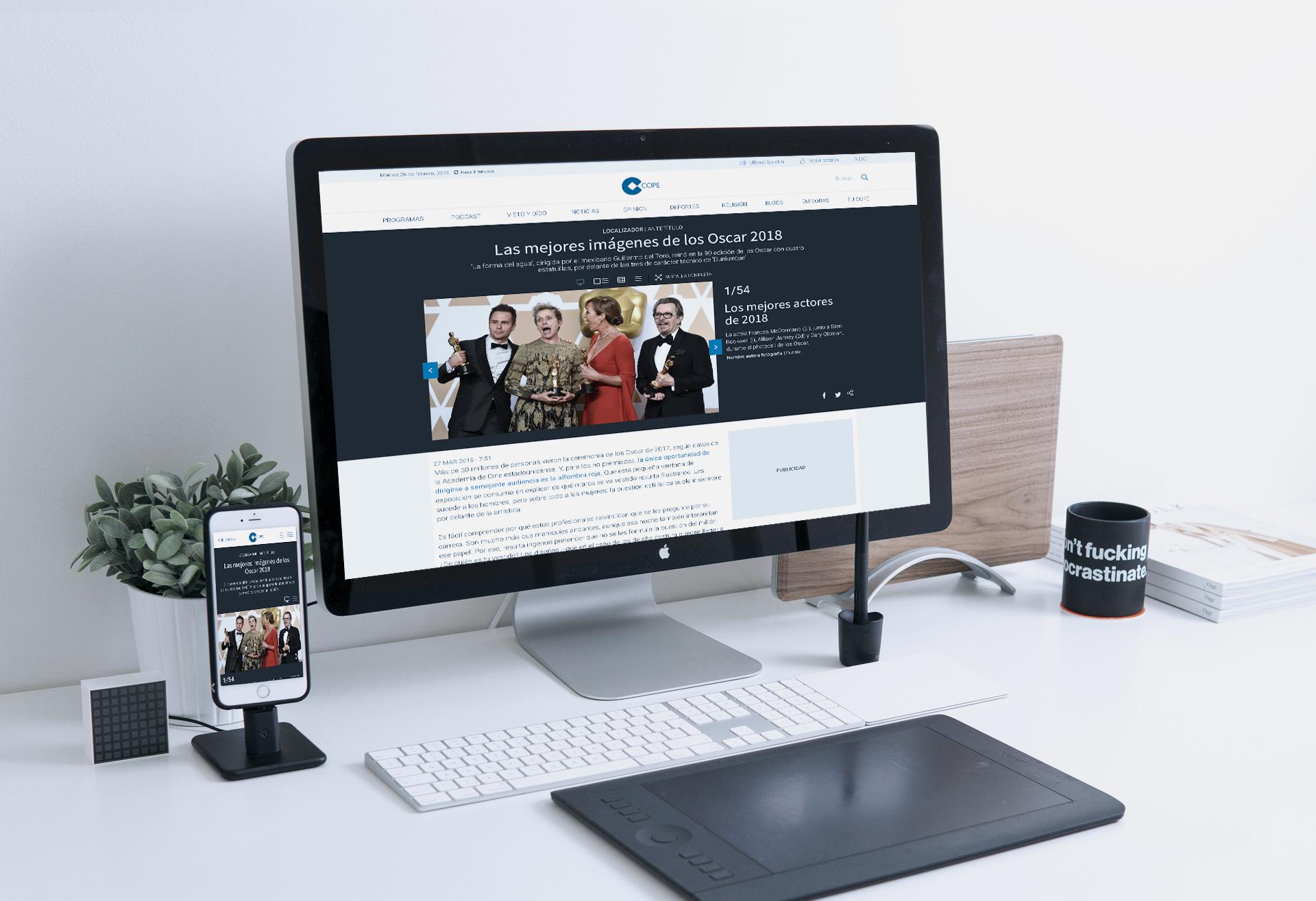 Mac de sobremesa y iPhone mostrando el diseño UX UI desktop y mobile de las galerías de cope.es