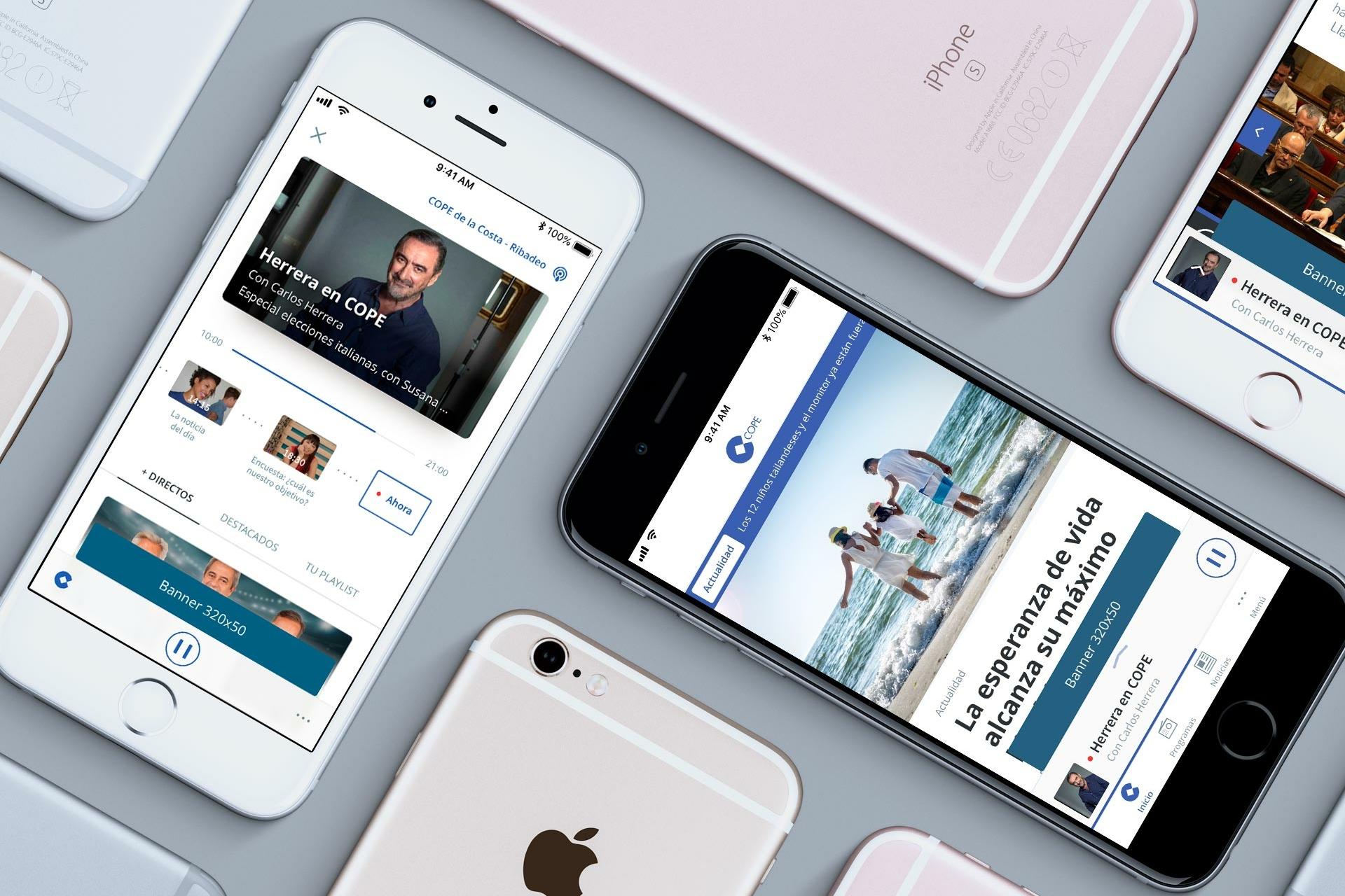 Varios iPhone con pantallas del diseño UX UI de la app de COPE