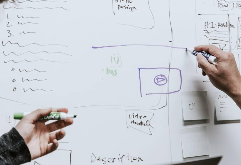 Atribuciones Pizarra blanca en la que se dibujan wireframe o bocetos del diseño ux de la web o app de COPE y CADENA 100