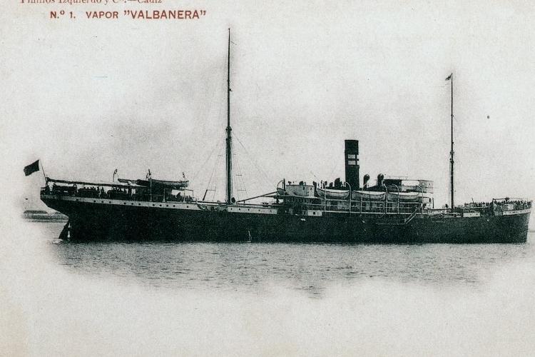Bonita postal del VALBANERA. Foto cedida por el Sr. Don Germán Pérez Hidalgo. Del libro El Misterio del VALBANERA