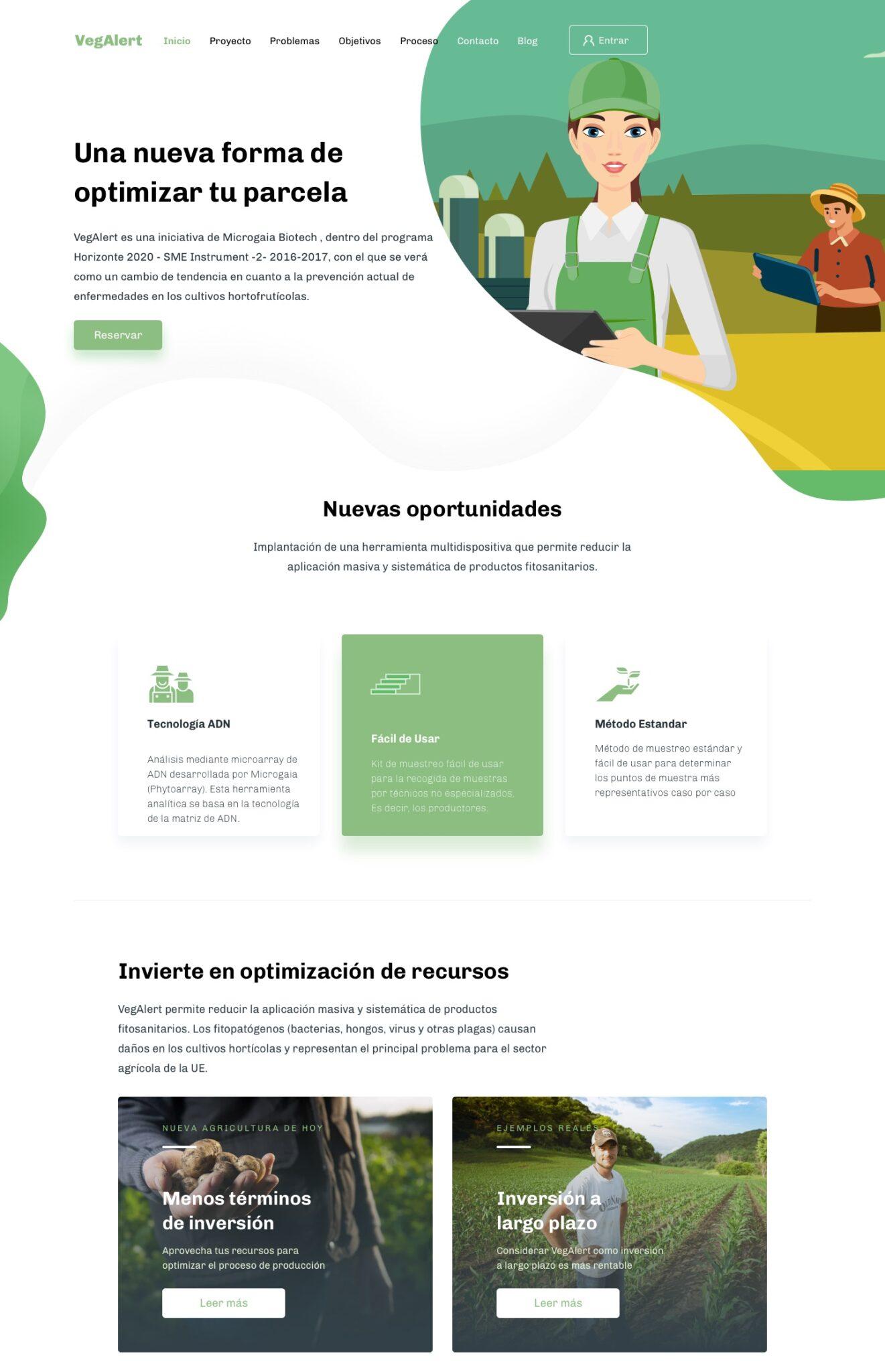 Landing desktop de la investigación y diseño UX de VegAlert