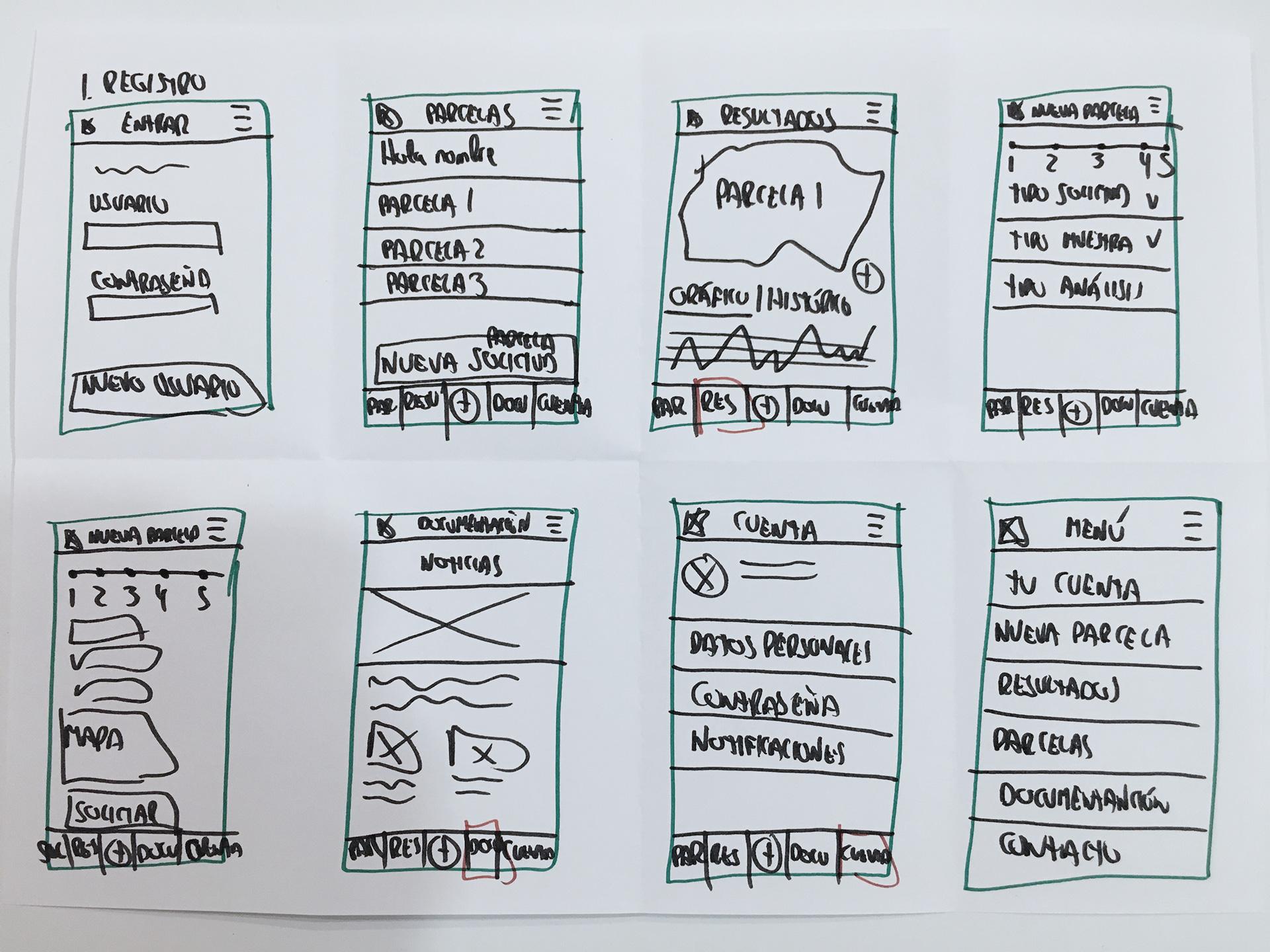 Ejercicio Crazy 8's! para idear posibles soluciones a los problemas encontrados de la investigación y diseño UX de VegAlert