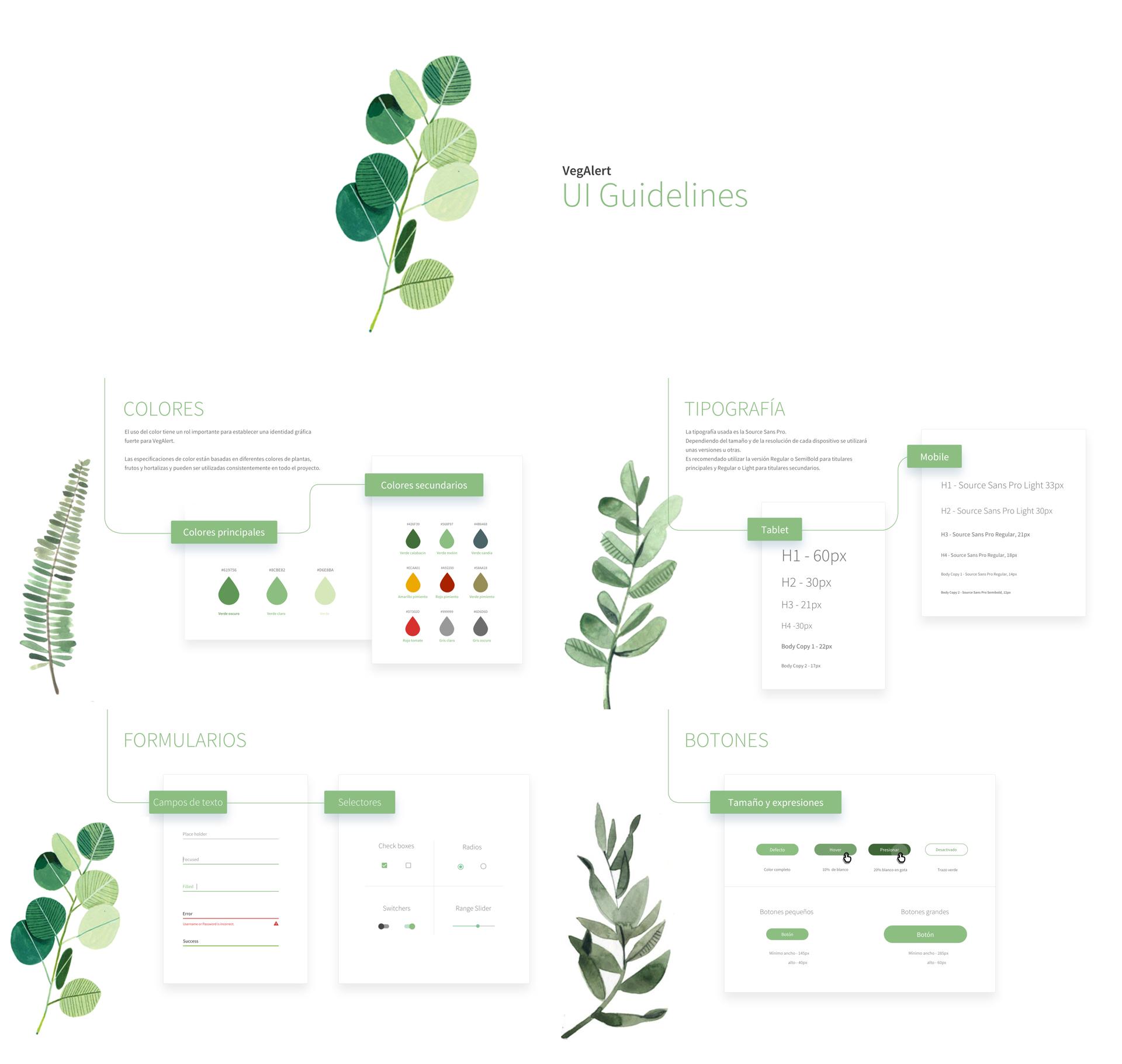 UI Guidelines de la investigación y diseño UX de VegAlert
