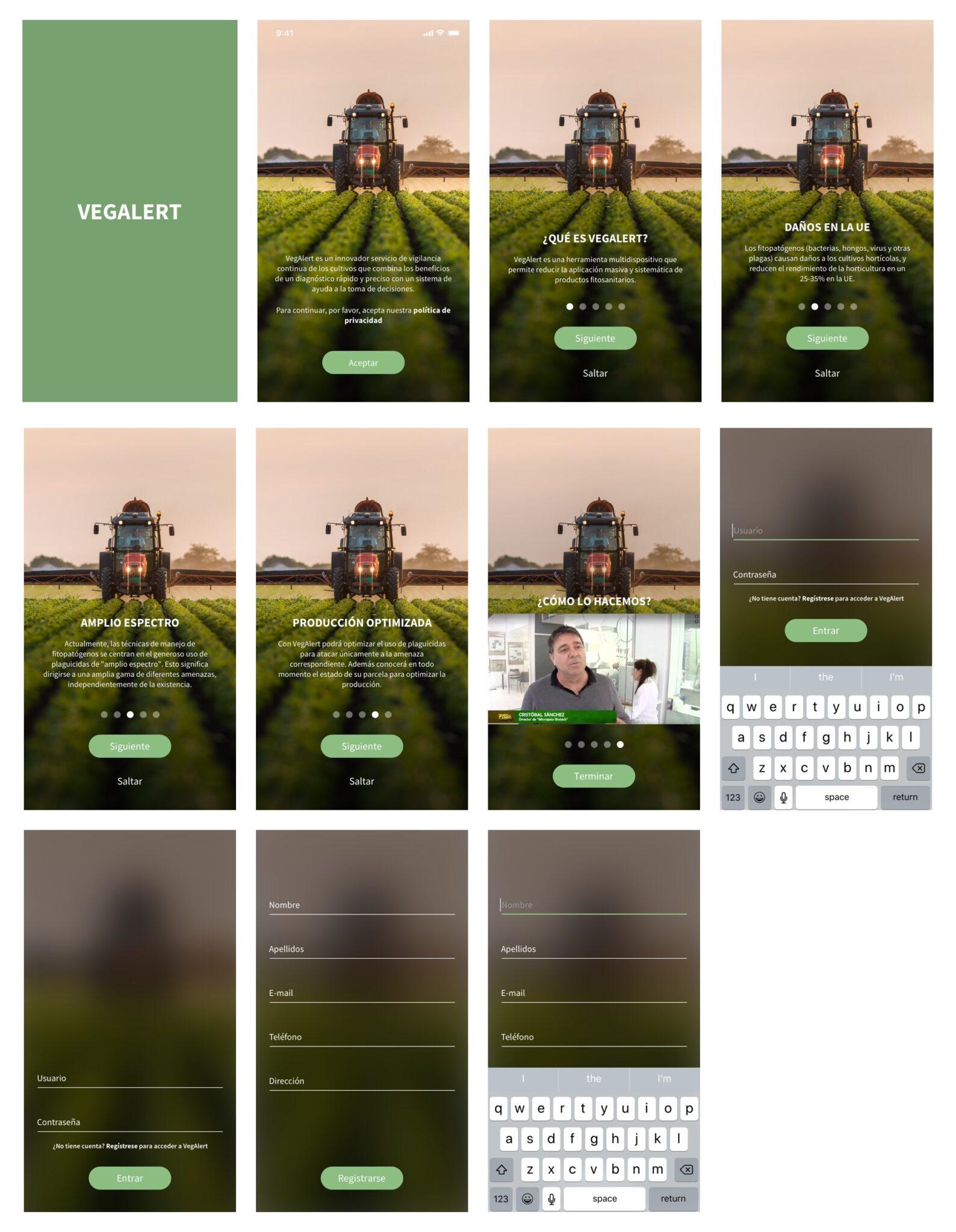 Proceso de registro de la app de la investigación y diseño UX de VegAlert