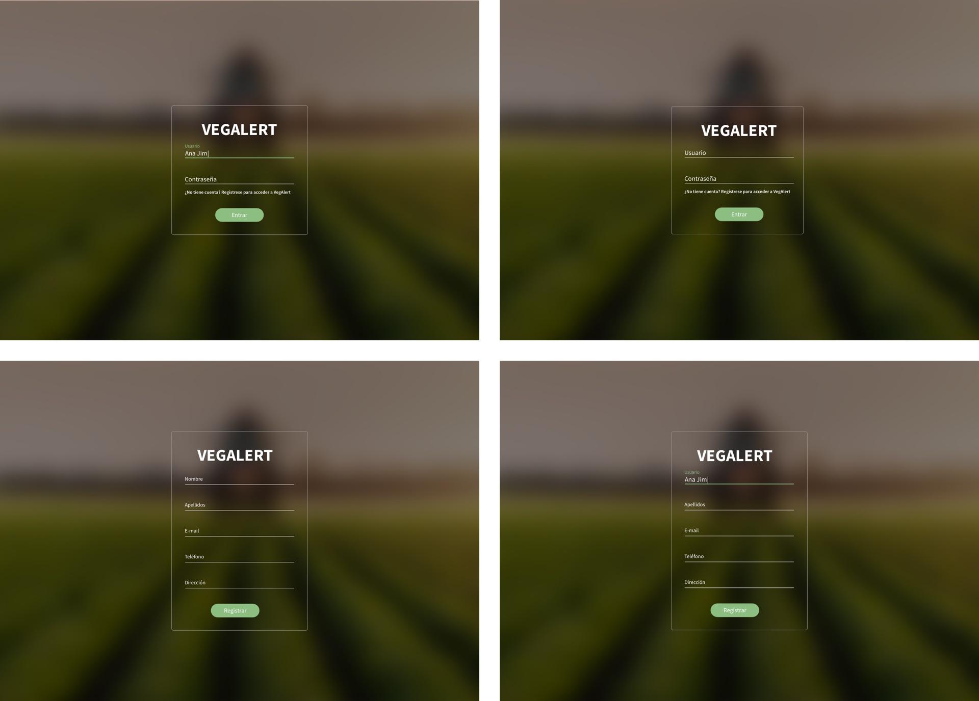 Registro desktop de la investigación y diseño UX de VegAlert