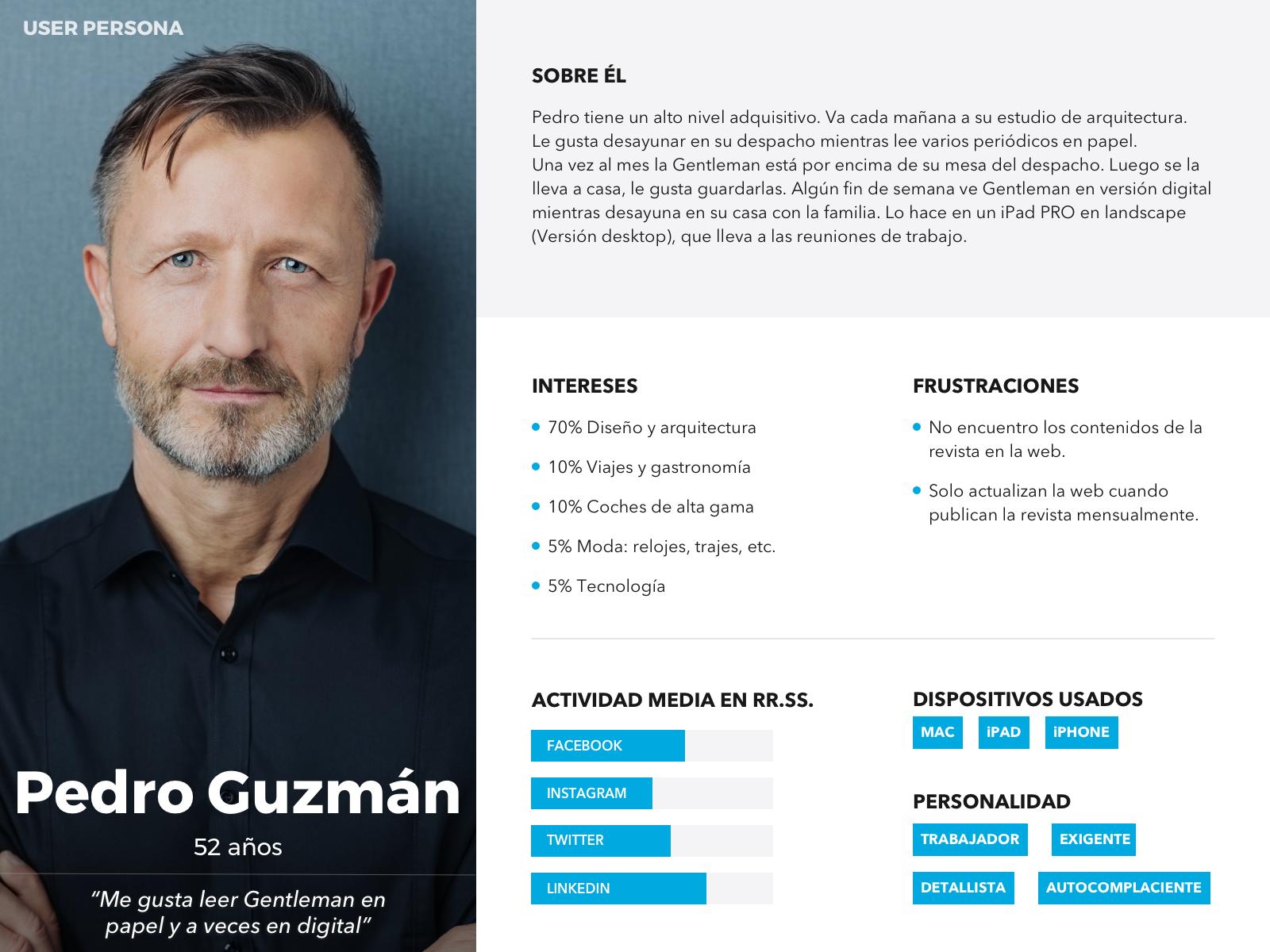 UX Persona de Pedro Guzmán para Gentleman
