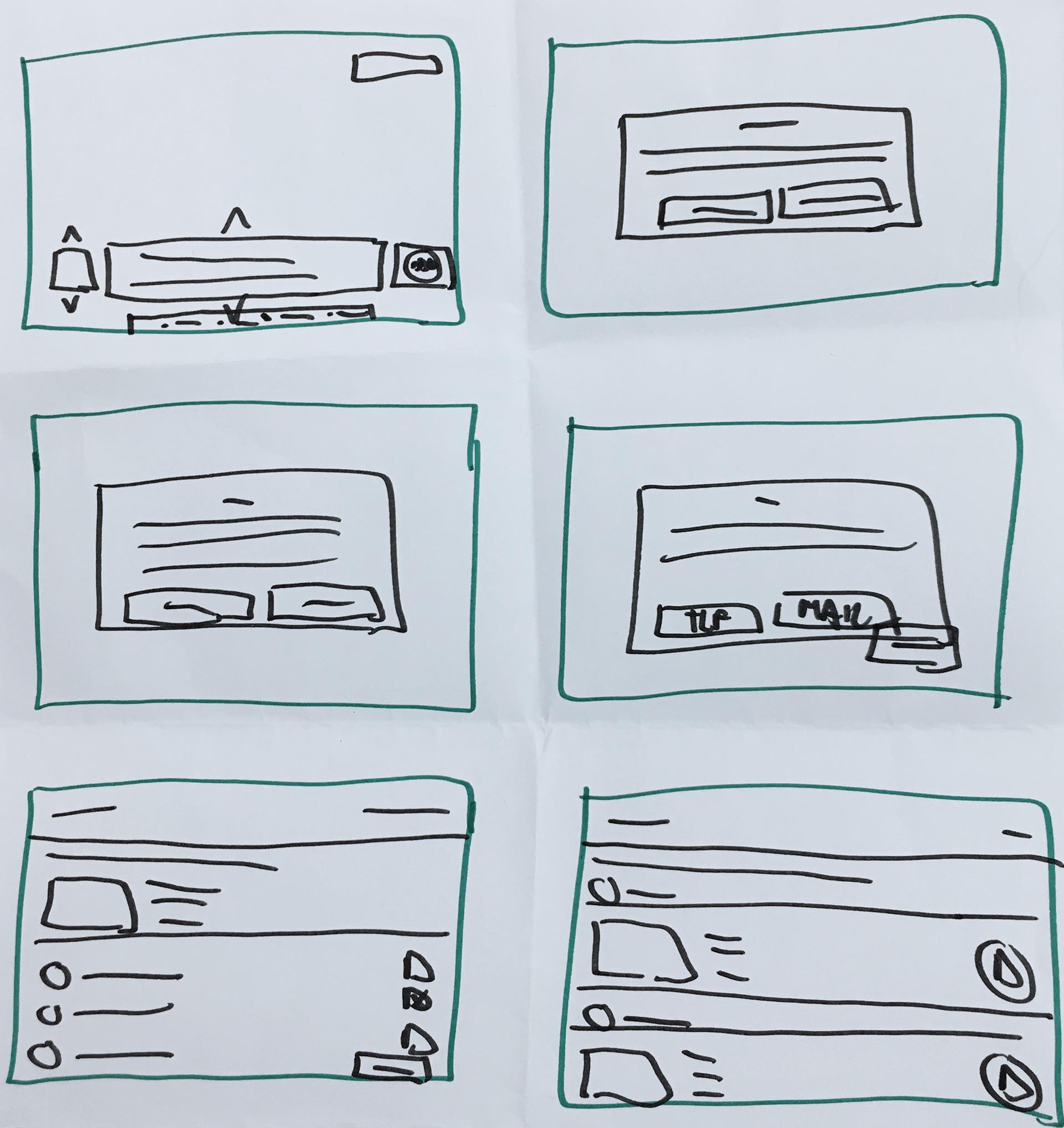 Ejercicio Crazy 8's! para idear la solución al problema. Movistar+: investigación y diseño UX