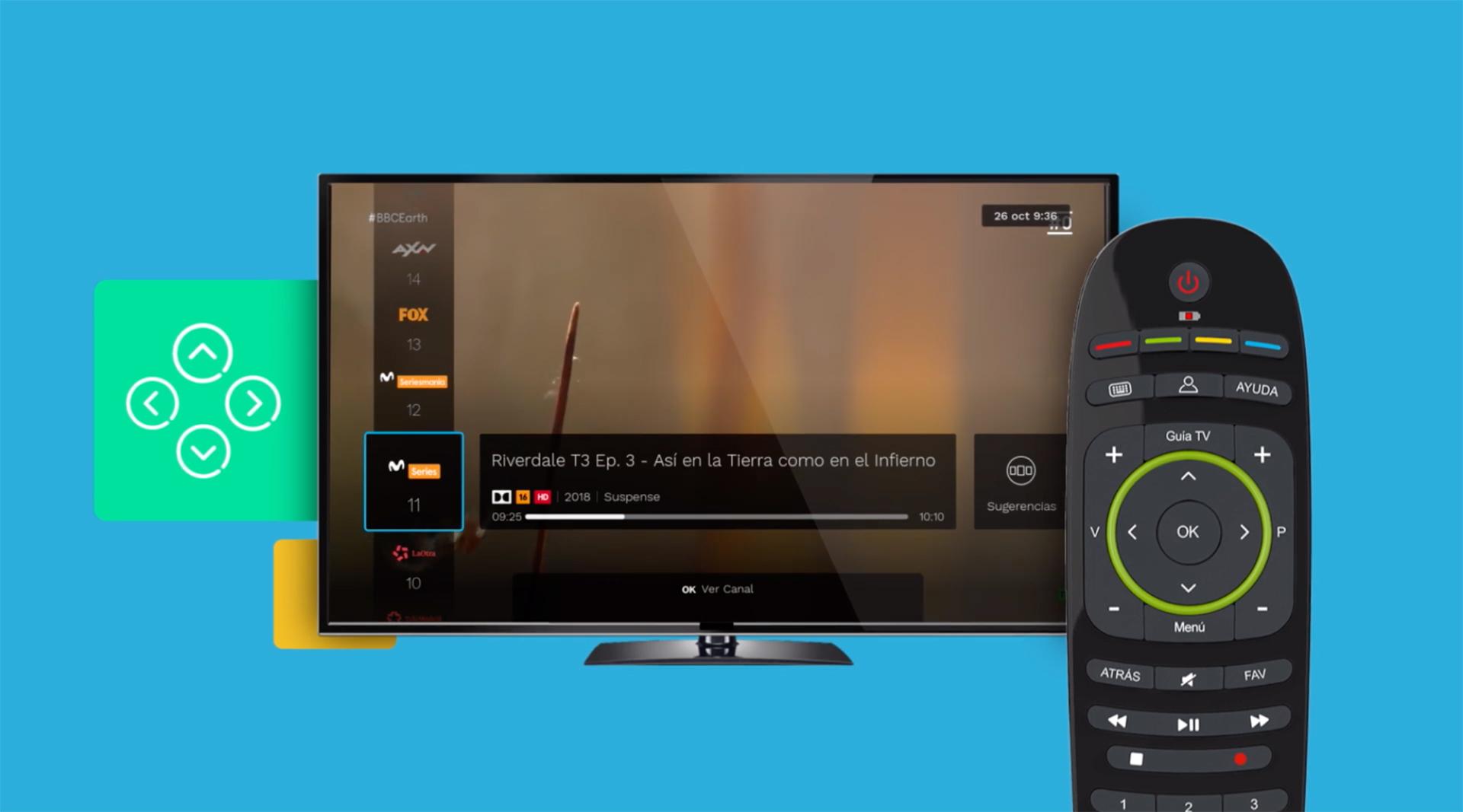 Miniguía desde la que se puede acceder al listado de canales ordenados. Movistar+: investigación y diseño UX